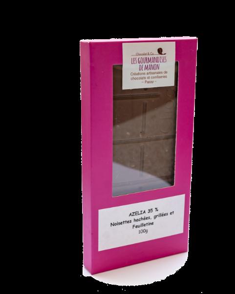 Tablette Azélia 35%, noisettes hachées et feuilletine