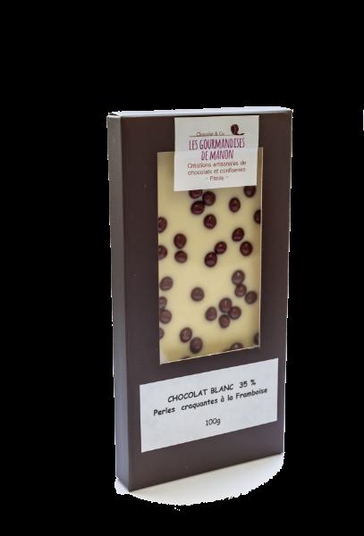 Tablette chocolat blanc Perles croquantes à la framboise