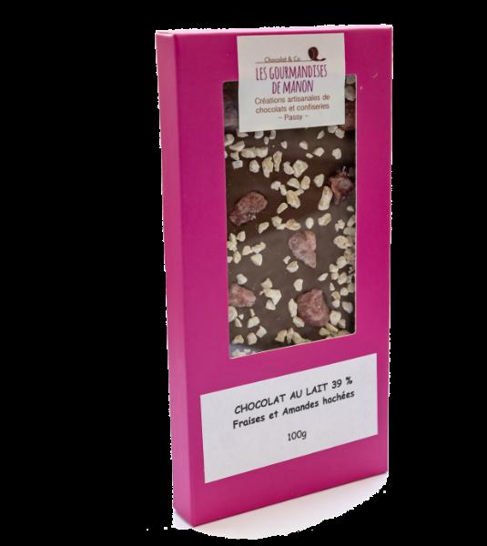 Tablette chocolat lait Amandes hachées et fraises