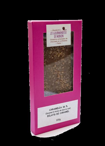 Tablette chocolat lait caramel Caramélia 36% et éclats de caramel