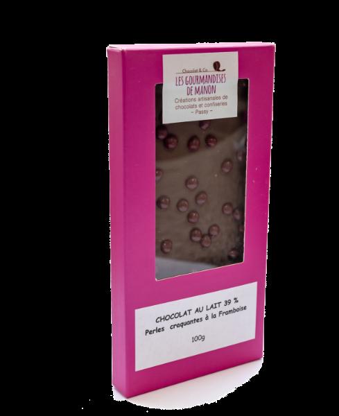 Tablette chocolat lait Perles craquantes à la framboise