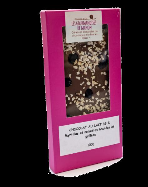 Tablette chocolat lait Noisettes hachées et myrtilles