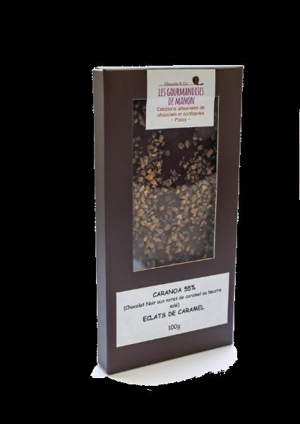 Tablette chocolat noir caramel Caranoa 55% et éclats de caramel