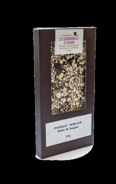 Tablette chocolat noir Eclats de nougats