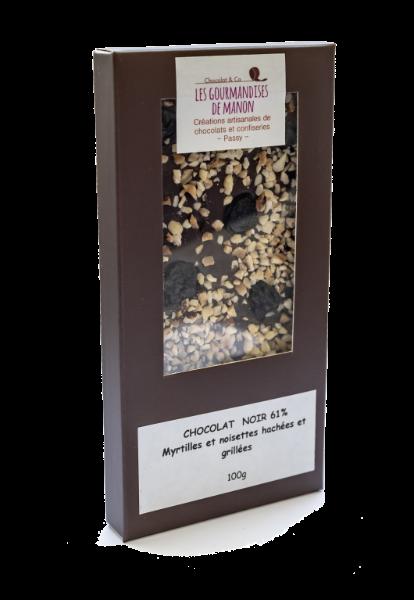 Tablette chocolat noir Noisettes hachées et myrtilles