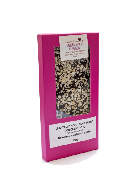 Tablette chocolat noir sans sucre 65% et éclats de noisettes